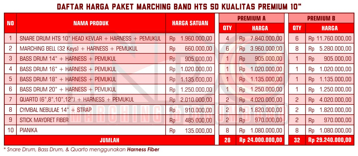 Harga ID Marching Band SD Premium 10'