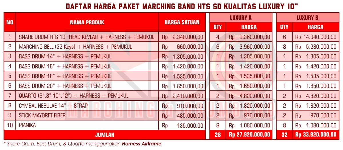 Harga ID Marching Band SD Luxury 10'