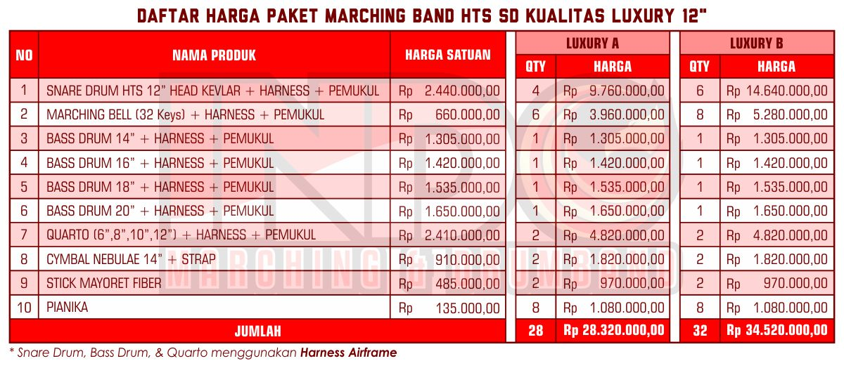 Harga ID Marching Band SD Luxury 12'