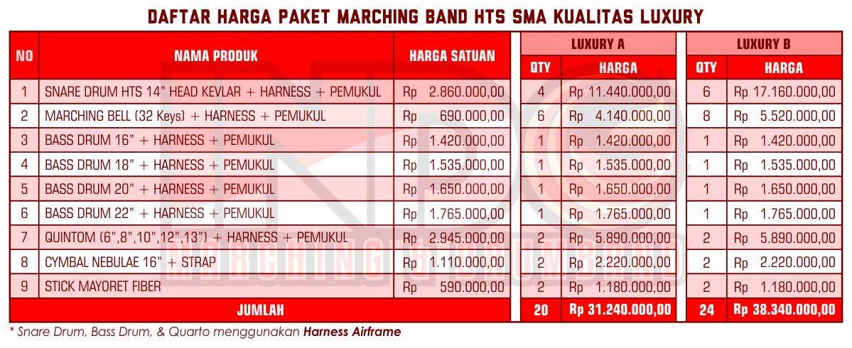 Harga ID Marching Band SMA Luxury 1